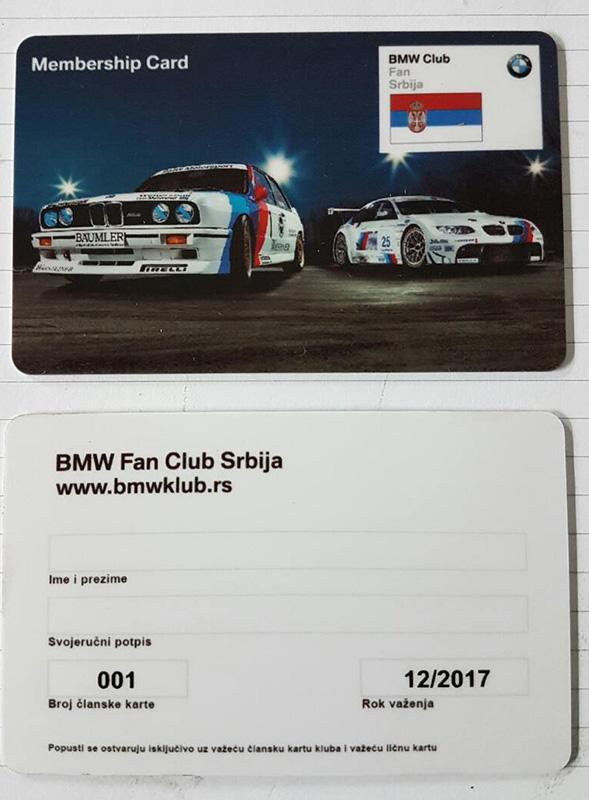 BMW Fan Club Clanska Kartica 2017